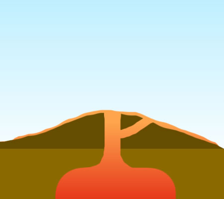 A simple cross-section of a shield volcano