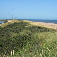 Spurn Point - a coastal spit formed by longshore drift.