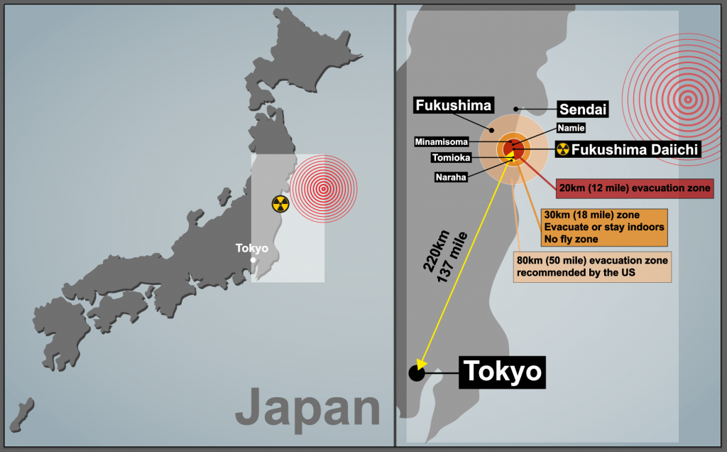 A map to show the location of the 2011 Japan Earthquake