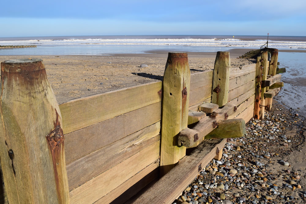 A groyne at Hornsea, Holderness Coast.
