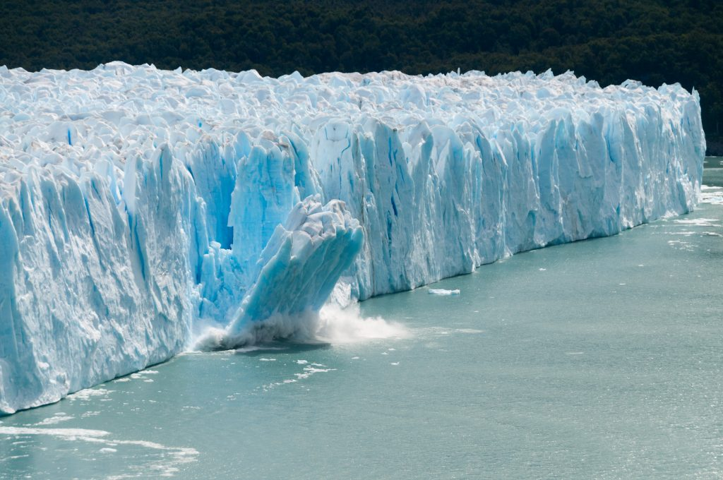 A giant piece of Ice breaks off the Perito Moreno Glacier in Patagonia, Argentina